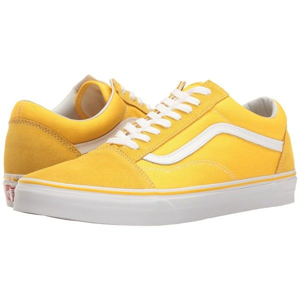 Vans Old Skool ((Suede/Canvas) Spectra Yellow/True White) Skate Shoes ($60) ❤ liked on Polyvore featuring shoes, sneakers, white skate shoes, canvas sneakers, canvas shoes, lace up sneakers and grip trainer