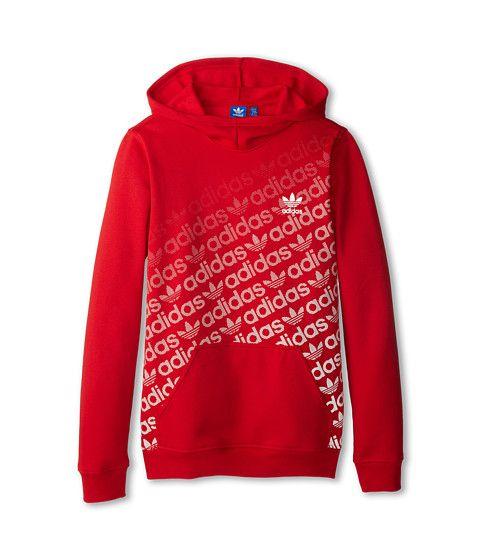 awesome adidas Originals Kids Trefoil Fleece Hoodie (Little Kid/Big Kid) Collegiate Red/Core White