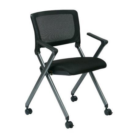 Office Star Folding Chair with Screen Back and Icon Black Seat, Titanium Finish Frame, 2-Pack