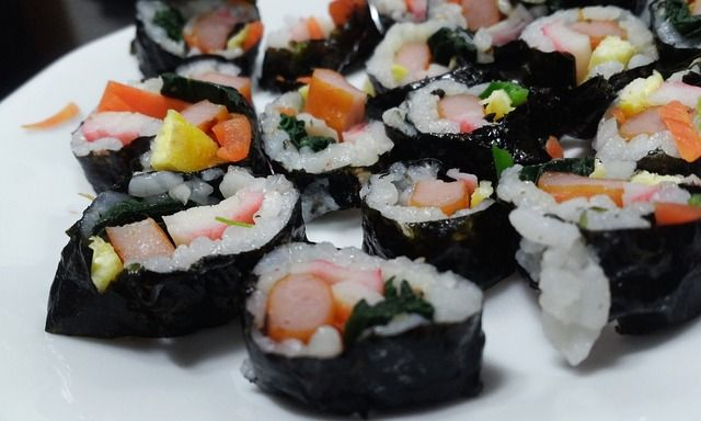 Sushi, Essen, Kim-Reis, Schwarz -