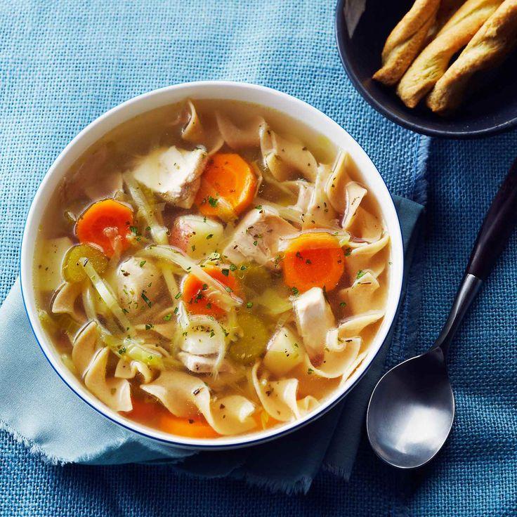 Une soupe au poulet créée à partir de rien, obtenue en faisant mijoter des cuisses de poulet dans un bouillon simple.   Le Poulet du Québec