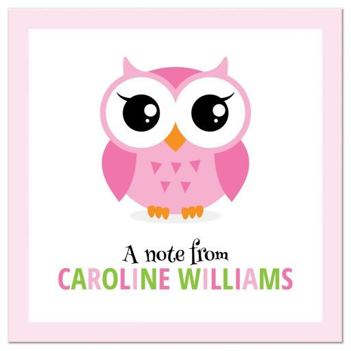 Flat note card with pink owl and personalized name in colorful lettersFerchykat A.