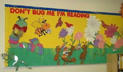 """Spring bulletin board idea could do kids faces and let them decorate their """"bug"""" self like the other board."""