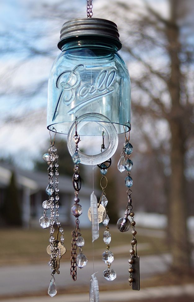 DIY Wind Chimes - Mason Jar Chimes - Easy, Creative and Cool Windchimes Made from Wooden Beads, Pipes, Rustic Boho and Repurposed Items, Silverware, Seashells and More. Step by Step Tutorials and Instructions http://diyjoy.com/diy-wind-chimes