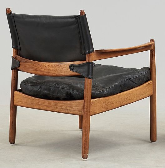 Gunnar Myrstrand; Rosewood and Leather Easy Chair for Källemo, 1960s.