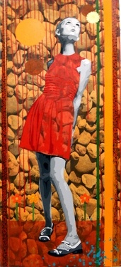 "Saatchi Online Artist Raquel Gralheiro; Painting, ""Red dress"" #art"