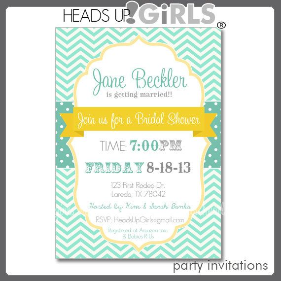 Personalized Mint Green and Yellow Banner Engagement or Bridal Shower Invitations by HeadsUpGirls on Etsy, $1.50