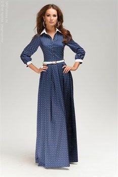 ЛЮБЛЮ ПЛАТЬЯ интернет-магазин платьев - Платье синее длины макси с принтом с белыми манжетами и воротничком