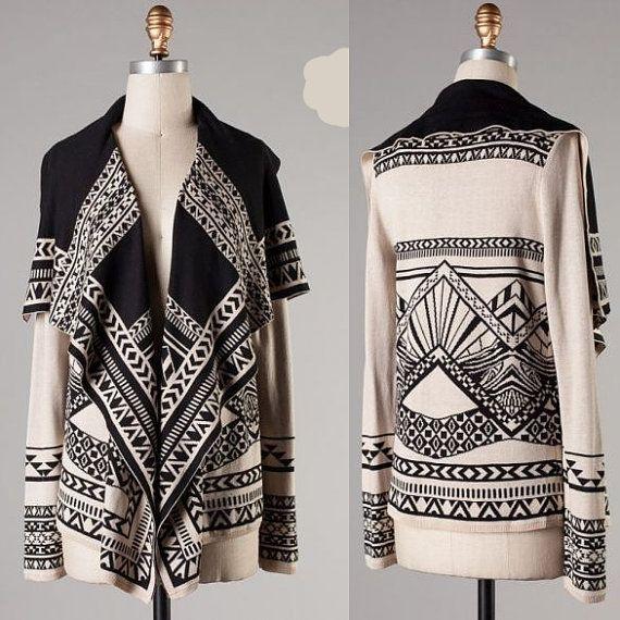 Plus Size Taupe & Black Cardigan, Large Collar Tribal print Sweater - Black sweater - Pluse Size XL XXL 3XL XXXL