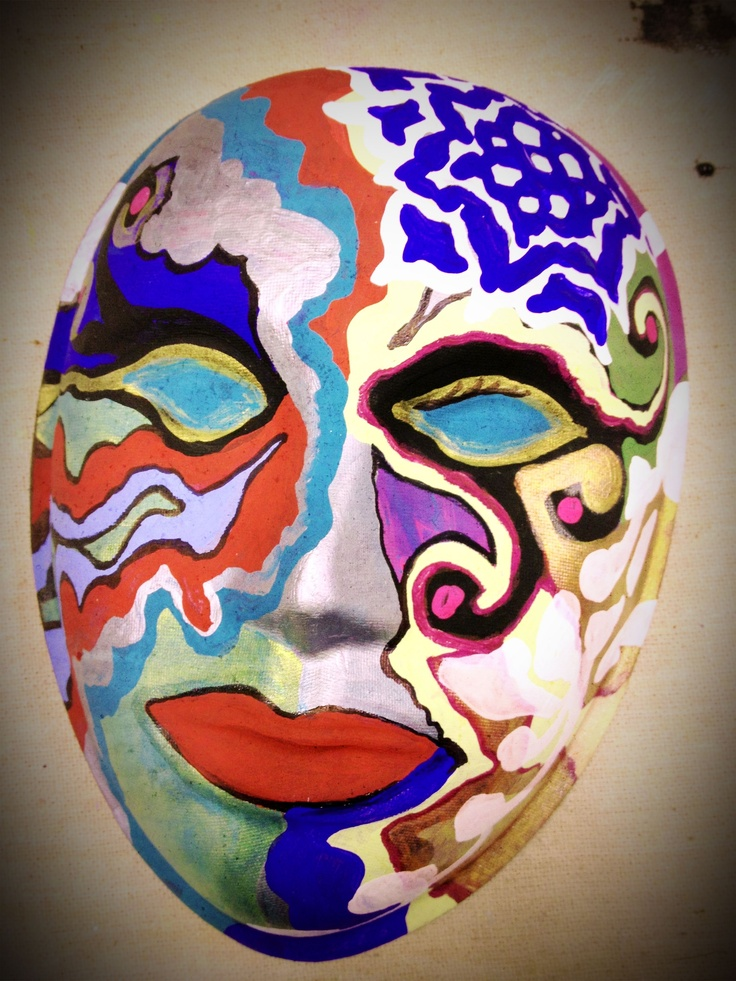 Paper pulp mask with acrylic & sharpie markers ~ created alongside clients during a mask-making group    © Sara Roizen 2013    http://www.arttherapyspot.com/