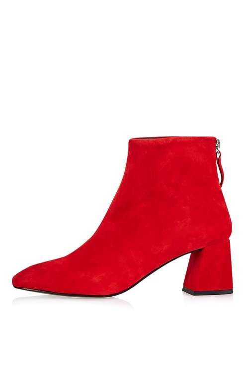 Elevate your ankle boots with this chic red pair with a flared heel. Featuring a stunning leather suede finish, these boots are perfect to team with denim for a look that says 'on-trend-without-trying'. #Topshop