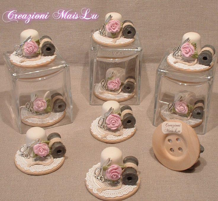 Regalini per le amanti del cucito Ditale in ceramica biscotto grezza con deco in pasta di ceramica