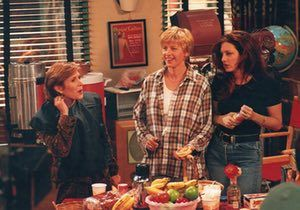 With Ellen Degeneres, and Joely Fisher in a scene from an episode of the television show Ellen 1995