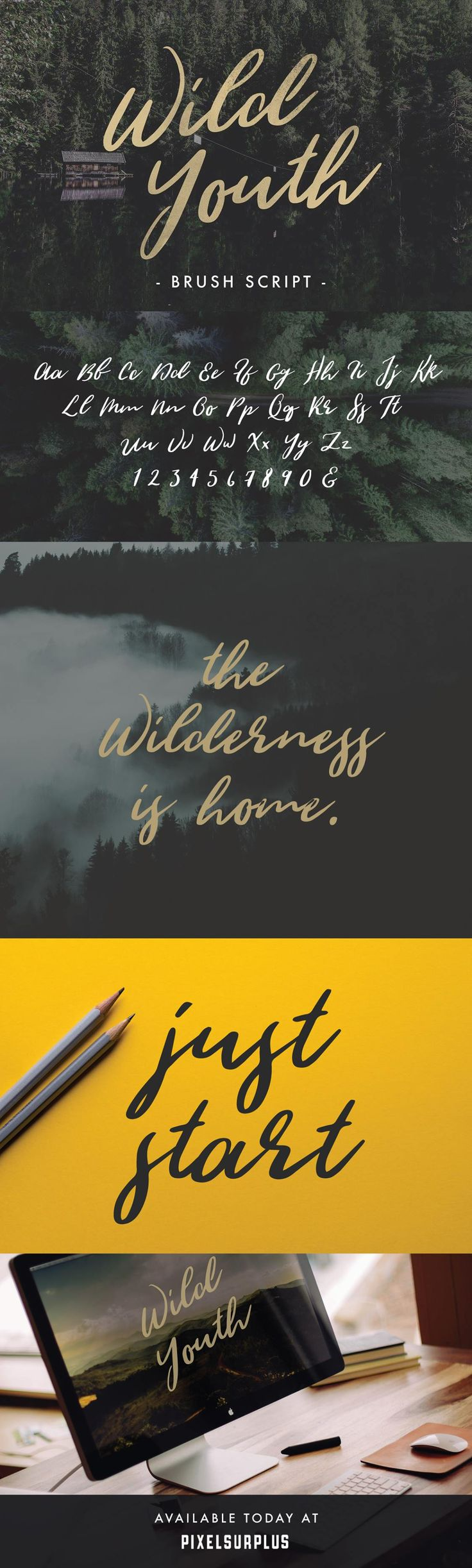 Wild Youth is another beautiful hand drawn brush script font from Jeremy  Vessey.  Wild Youth is a modern font with the distinct influence of  adventure and the great outdoors.  Perfect for logos, quotes,  stationary, apparel and much more  - Free for personal & commercial use  DOWNLOAD WILD YOUTH  Unlock this download by sharing on Twitter or Subscribing    Email Address *  Thank you!  CLICK HERE TO DOWNLOAD WILD YOUTH   MORE GREAT PRODUCTS FROM HUSTLE SUPPLY CO  THE GIANT BUNDLE  THE WH...