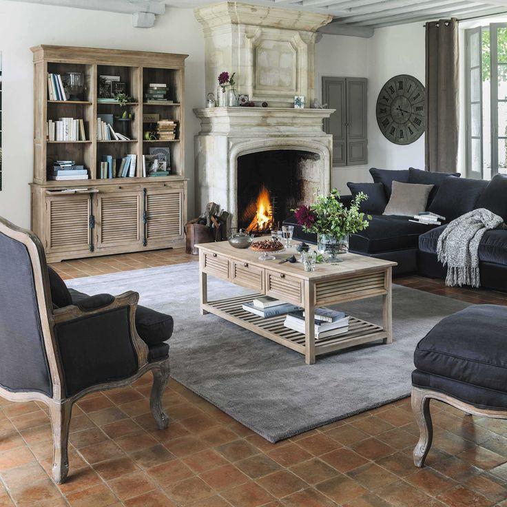 Sofá esquinero de 4 plazas de pana gris Bruges   Maisons du Monde