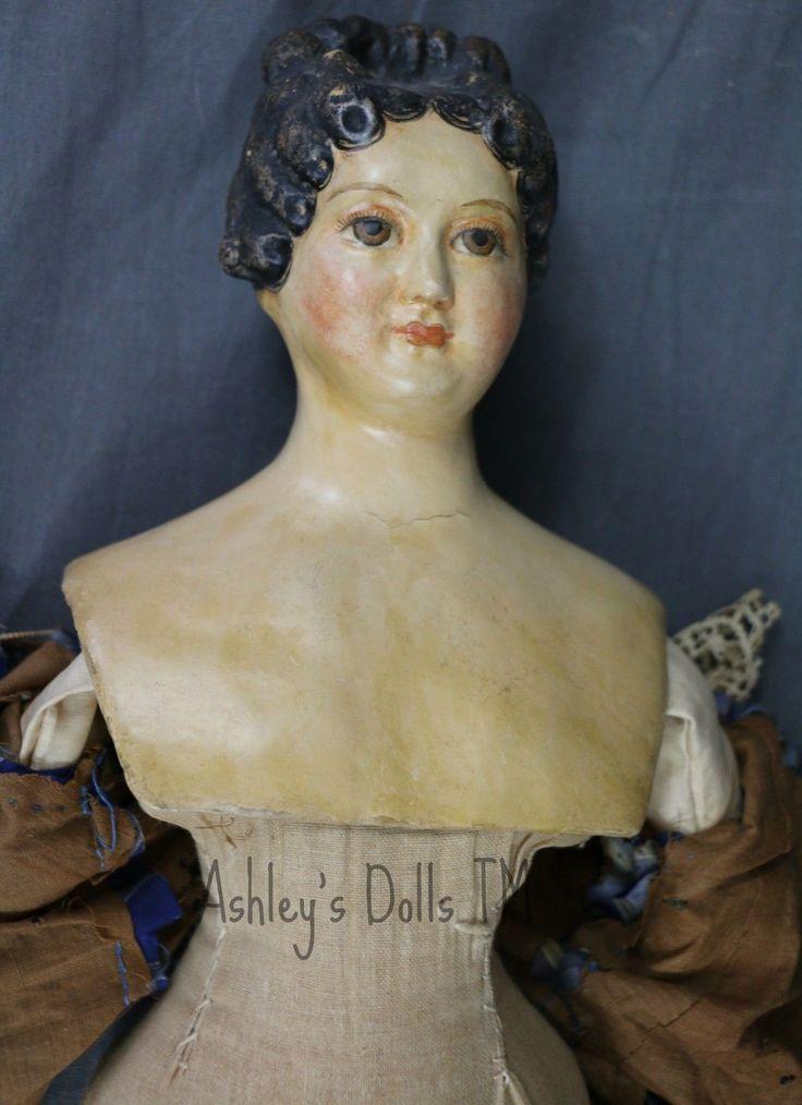 Антикварная немецкая кукла из папье-маше, 24 в, античный шелковый халат, модная прическа кукла | eBay