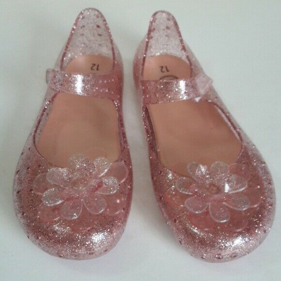 Wonder Nation Girls Mary Jane Jelly Sandal Shoes Size 9 Clear Sparkle NEW