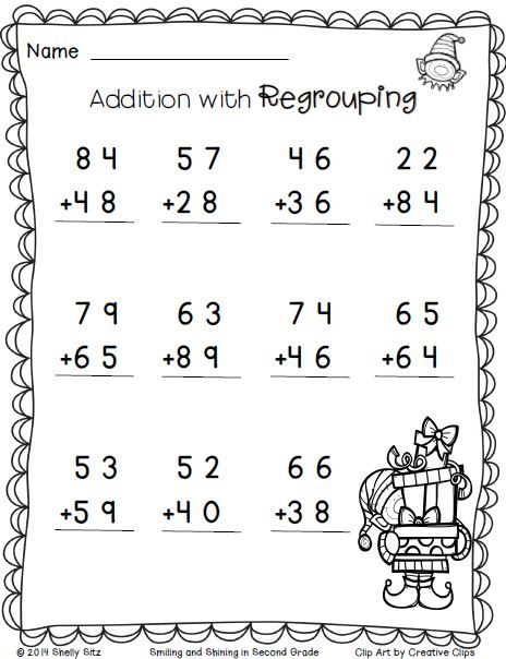 christmas math addition with regrouping free 2nd grade math worksheets second grade. Black Bedroom Furniture Sets. Home Design Ideas