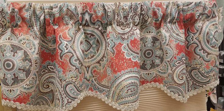 """Paisley Party Provance Valance in Coral. 51""""wx16""""l $54.99. To Order Call toll-free 877-722-1100"""