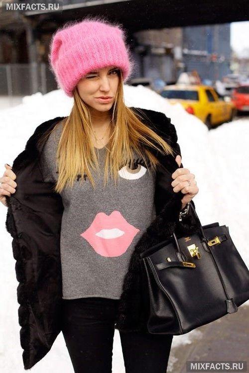 вязаные модные зимние шапки