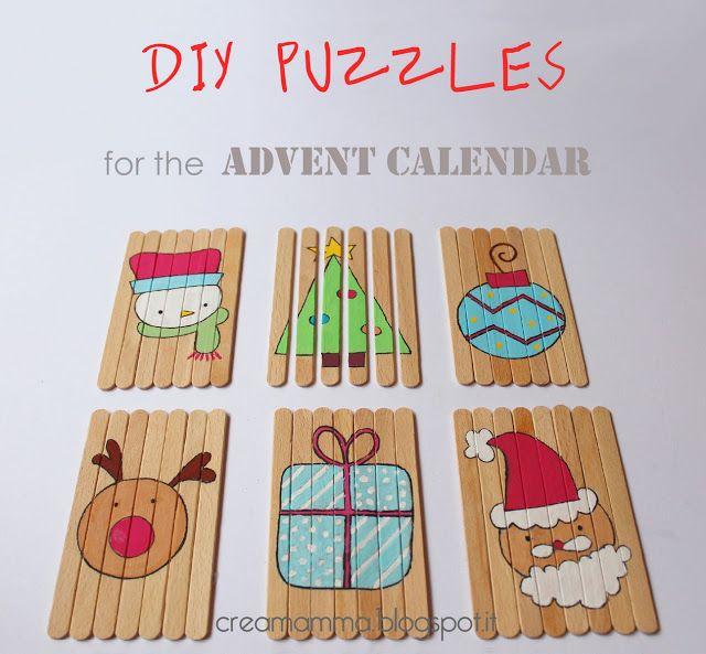 réaliser des puzzles de #Noël avec des batons de glace, DIY puzzles with popsicles sticks