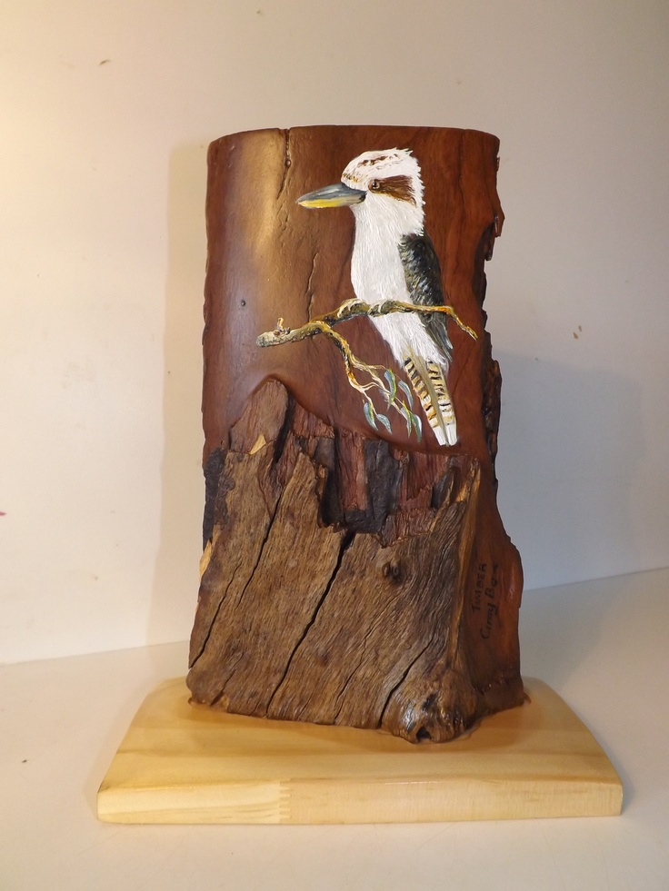 Great Aussie Wood Chip KOOKABURRA common bird of Australia timber black box an pine base furniture finished