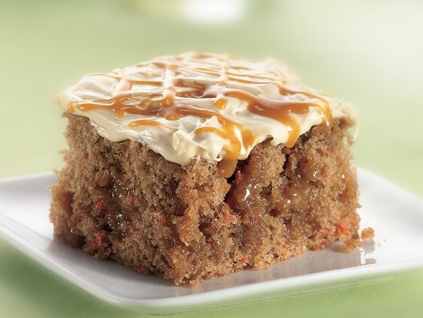 Caramel Carrot Cake-It's in my oven right now. Would it be a bad example to feed it to the boys for dinner? LOL