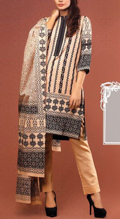 Buy Ivory Embroidered Khaddar Shalwar Kameez by Warda Prints 2015