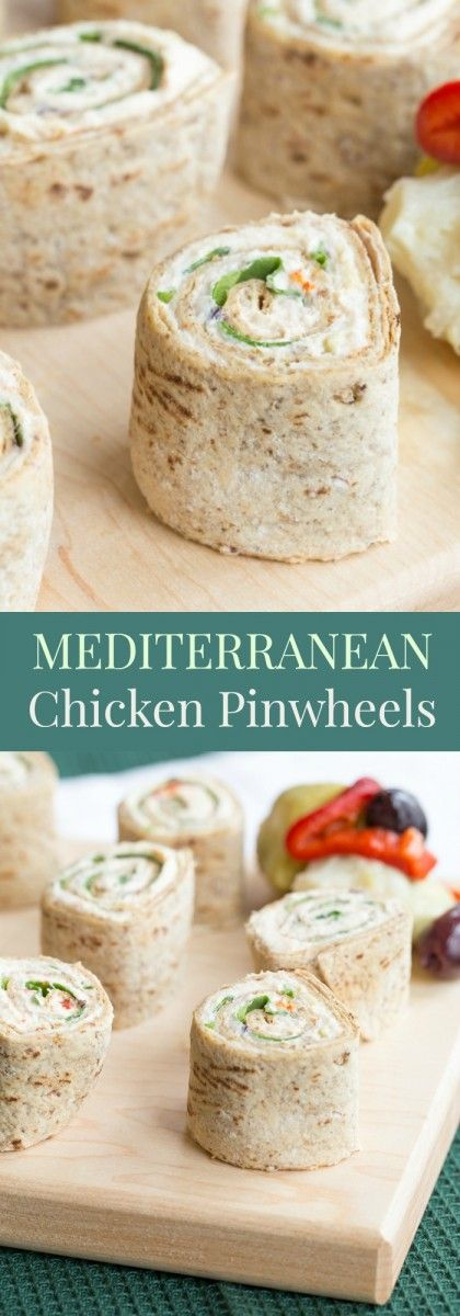Mediterranean Chicken Pinwheels - all you need is a few ingredients including leftover rotisserie chicken to make this easy lunch or appetizer recipe. For a gluten free and low carb option, it makes tasty lettuce wraps! | cupcakesandkalechips.com