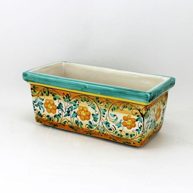 Cassetta rettangolare in ceramica, decoro Floreale Verde.  Dim. cm 33 x cm 16 x Altez.cm 13,5