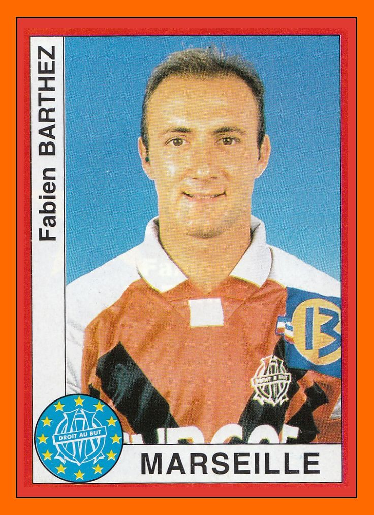 Panini European Cup 1994-95: an unrecognisable Olympique Marseille Fabian Barthez!