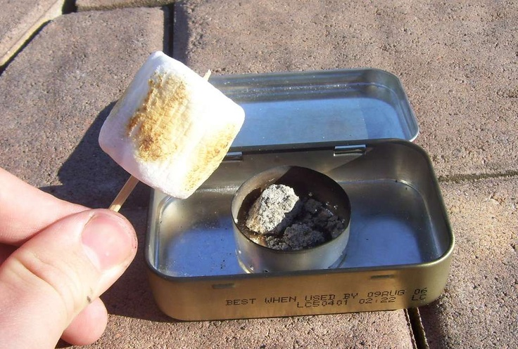 Portable Altoids Marshmallow Roaster I would include: mini marshmallows, toothpicks for roasting,