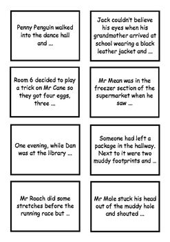 Writing - third person - story starter cards