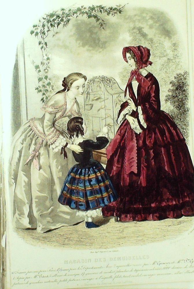 September 1852  +++++++++  GRAVURE de MODE AUTHENTIQUE-X170-MAGASIN DEMOISELLES-ROBES DE PROMENADES-1845
