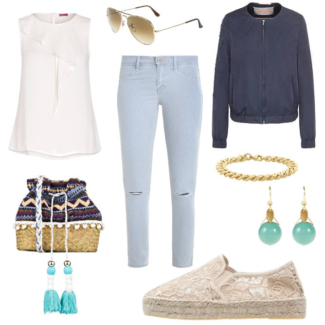 Damen Outfit 2017-05-17 - #ootd #outfit #fashion #oneoutfitperday #fashionblogger #fashionbloggerde #frauenoutfit #herbstoutfit - Frauen Outfit Outfit des Tages Sommer Outfit Armband Beuteltasche Blouson Blusentop Boss Orange Espadrilles Hollister Hollister Co. Ohrringe Ray Ban Relaxed Fit Replay Sonnenbrille STEEL by Christ Stoffhose Suzanna TomShot VERSTEEGH