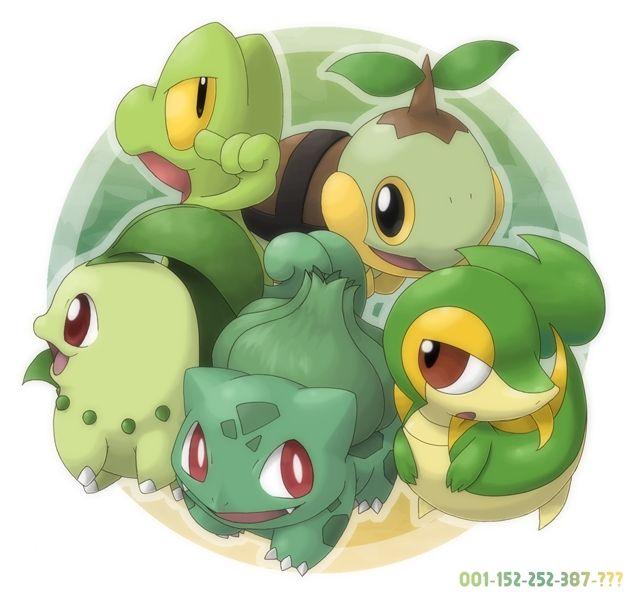 chikorita, treecko, turtwig, snivy, bulbasaur, pokemon,