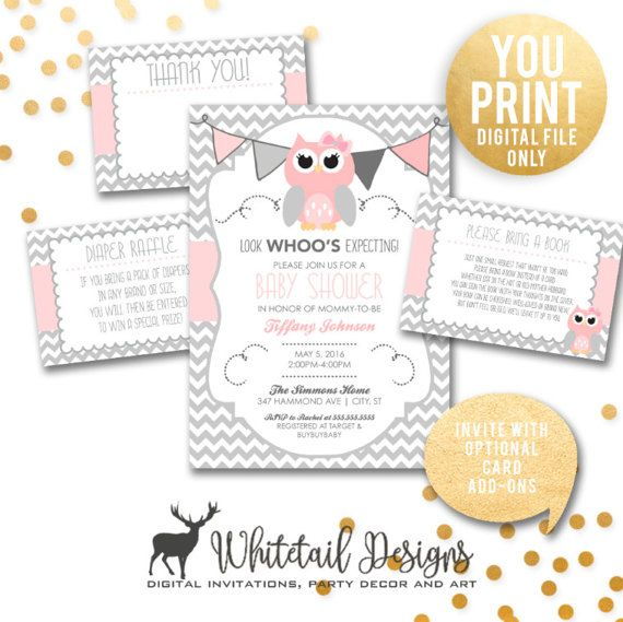 Owl Baby Shower Invitation Girl owl shower Pink and Grey Owl