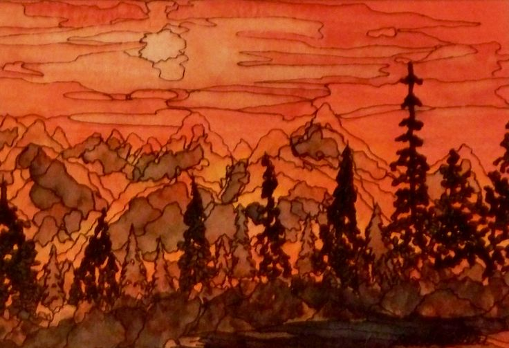 """""""Paradise Aglow""""  Watercolor & Ink 8"""" x 10"""""""
