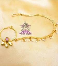 Buy Gorgeous Kundan & Ruby Nose Ring nose-ring online