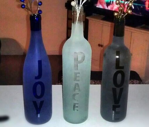 Wine Bottle Craft - Just use stickers and a frosted glass spray - #Glass #Craft and #Ideas - Click Pic for 20 Glass Craft Tutorials