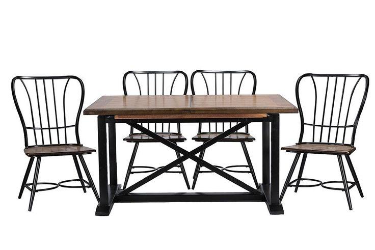 Longford Wood Black Metal Vintage Industrial 7-Piece Dining Set