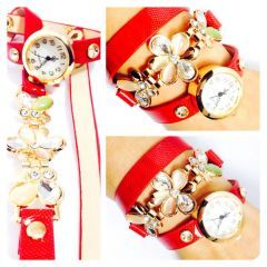 Bayan Kemer Tipi Çiçekli Saat