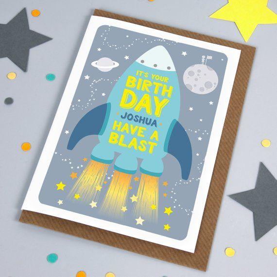 Space Birthday Card Children S Birthday Card Rocket Birthday Card Boys Birthday Card Son Birthday Cards For Boys Kids Birthday Cards Birthday Cards