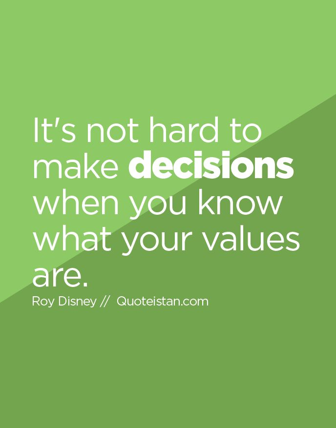 values and decisions Importance of values in individual and group decision-making students are asked to link outcomes important to them with review the 'choices and values.