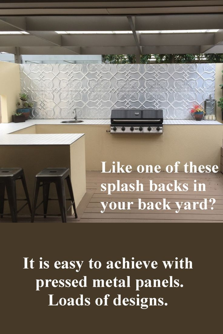 Liven up a barbeque area with a snazzy splash back made from aluminium.  This is the Shield design. Find out more about this pattern here: http://www.heritageceilings.com.au/tempat/shield.php