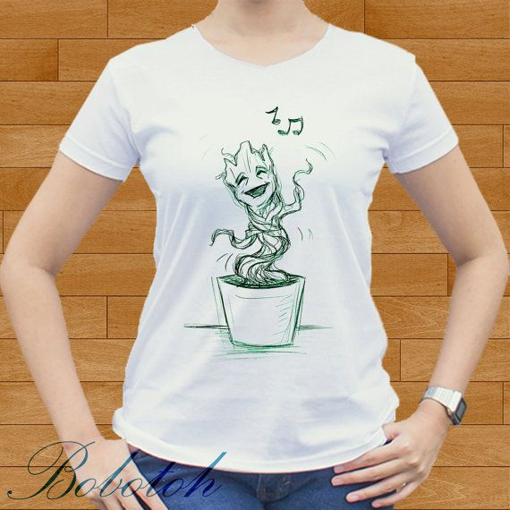 baby groot singing design for men and women t-shirt by bobotooh