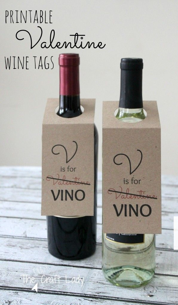 Free Printable Valentine Wine Tags - what a great gift idea for your single friends this year!