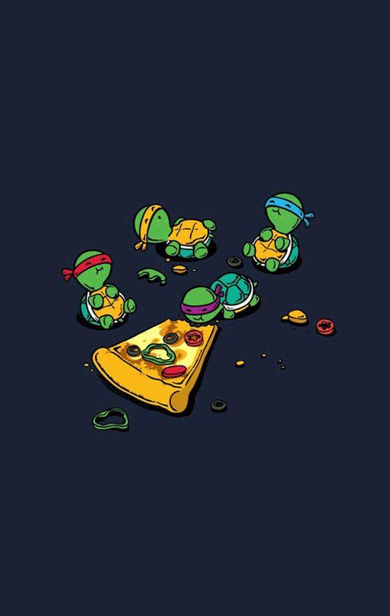 Tortugas ninja comiendo pizza.