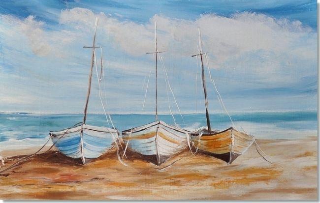 Kunst figuratief, Zeilboten op het strand, Acryl Schilderij 'Fishing Boats' van Aleksandra - Kunstvoorjou.nl