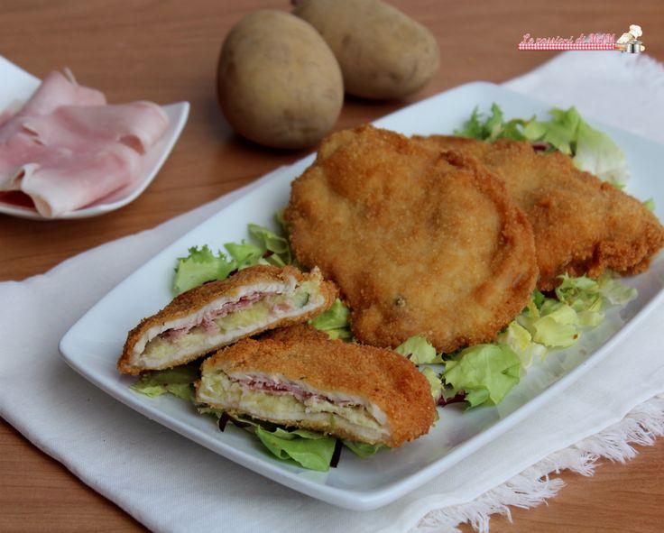 Cotolette alla marescialla ricetta secondo piatto di carne, fettine di lonza farcite con patate e prosciutto cotto e poi fritte. Ricetta senza lattosio.